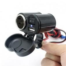 Adaptador 12v E 5v Usb P/ Moto Carrregador Celular Gps